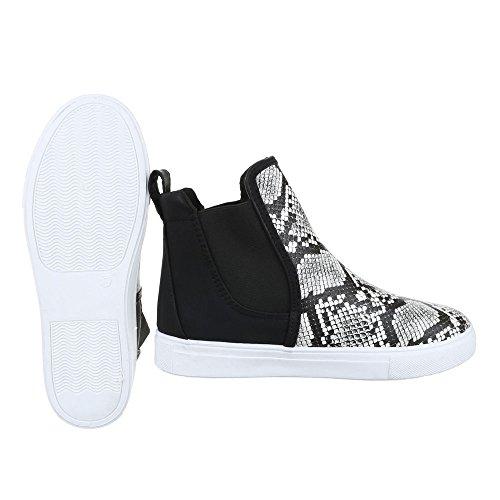 Ital-Design Sneakers High Damenschuhe Sneakers High Sneakers Freizeitschuhe Grau Schwarz