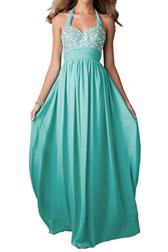 Ivydressing Damen Neckholder A-Linie Ballkleider Chiffon Lang Festkleid Abendkleid Jaegergruen