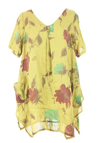 Ladies Women Italian Lagenlook Quirky Short Sleeve V Neck 3 Button Detail 2 Pocket Floral Print Linen Tunic Top Dress One Size Plus UK 12-16 (Pale Yellow, One Size) (Floral Linen Tunic)