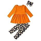Innerternet Mädchen Halloween Outfits Kleidung Kürbis Langarm Hoodie Tops +Streifen Blumendruck Hosen mit Lätzchen Set 2pcs Baby Kleidung Set Mädchen Kleidung Outfits Baumwolle 1-5 Jahr