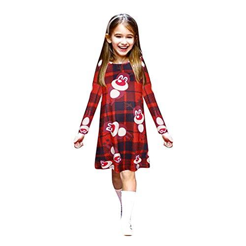 LUCKDE Weihnachten Kleid, Partnerlook Mutter Tochter Shirtkleid Damen Abendkleider Festliche Ballkleider Kinder Familien Kleidung Kleider Freizeitkleider Knielang Christmas ()