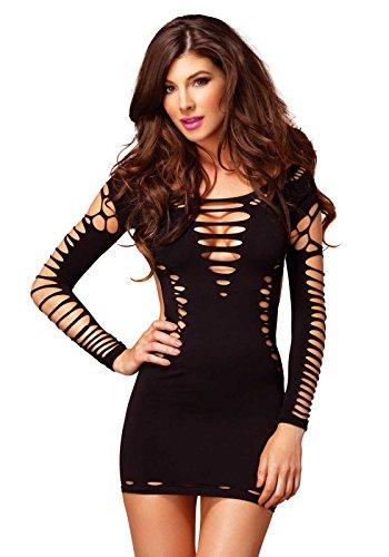 Leg Avenue 87039 – Nahtloses Mini Kleid Mit Slashlook Und Seitlichen Cut-Outs Akzente Dessous Damen Reizwäsche, Einheitsgröße (EUR 36-40)