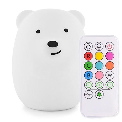 LumiPets Baby Night Light Kinderzimmerlampe Bär - wiederaufladbare USB-Fernbedienung + Fernbedienung mit Timer und Helligkeitssteuerung