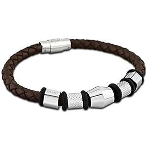 LOTUS lS1392/2/1–bracelet homme-acier inoxydable-cuir-caoutchouc noir 24 cm marron