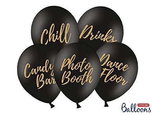 Color-Up.Shop Strong Ballons Hochzeit (Candy Bar, Chill, Dance Floor, Drinks, Photo Booth) 5 Stück Schwarz, Schrift: Gold, 30cm SB14P-272-010-5 (Helium geeignet!) (Candy Gold Und Schwarz)