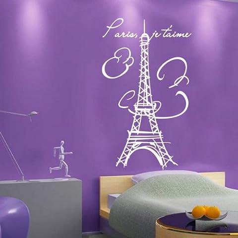 Sticker mural Tour Eiffel–Paris... Sticker Décoration Murale Papier Peint, Rose, -MEDIUM -SIZE 90cm x