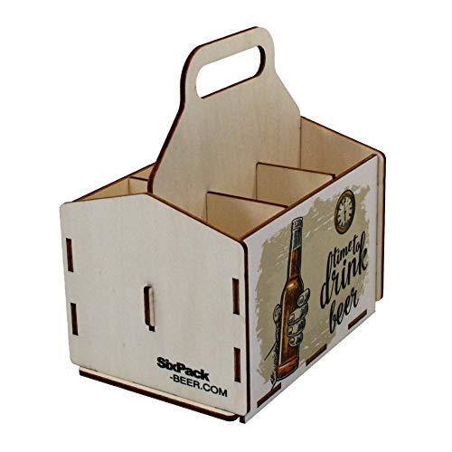 41oDjHn8rfL - Bierträger aus Holz - Sixpack - 6er Träger - Sechserträger - Geschenk Männer, Bier, Grillzubehör, Geburtstagsgeschenk für Männer, Grillparty, Bier-Geschenk