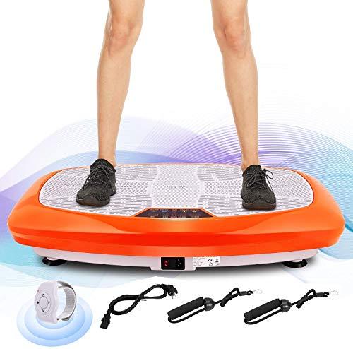 ANCHEER 3D Unisex-Adult Vibrationsplatte Ganzkörper Trainingsgerät rutschfest, Vibrationsgerät mit Armband Fernbedienung LCD Display Trainingsbänder