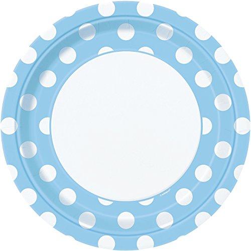 Unique Party - 37965 - Assiettes - Paquet de 8 Carton à Pois - 23 cm - Bleu Pastel