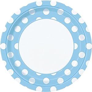 Unique Party- Paquete de 8 platos de papel a lunares, Color azul claro, 37965)
