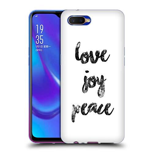 Head Case Designs Offizielle KookiePixel Love Joy Peace Typographie Soft Gel Huelle kompatibel mit Oppo K1 (2018)