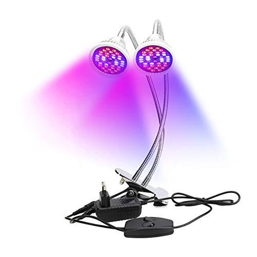 Pflanzenlampe Vollspektrum, 80 LEDs 18W Pflanzenlicht Doppelkopf USB Pflanzenleuchte 360 Grad Flexible Welle Wachstumslampe für Zimmerpflanze Gemüse Blume Gewächshaus
