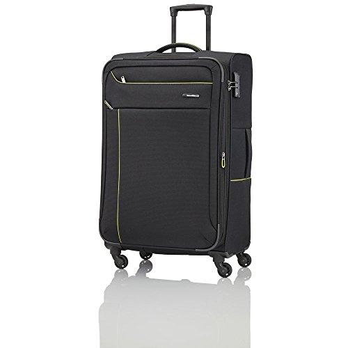 Travelite SOLARIS 4 Rad Trolley, erweiterbar, 88149-01 Koffer, 77 cm, 102 L, Schwarz/Limone