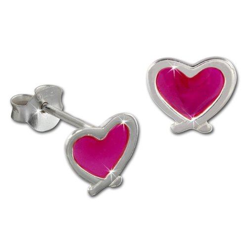 Tee-Wee bambini orecchini a forma di cuore rosa 925 Orecchini in argento Sterling bambino bambini (Cuore Rosa Orecchini)
