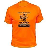 Camisetas de caza, Jabalí Dibujo, Todos nacemos iguales solo los mejores llegan a ser cazadores (30144, Naranja, 12a)