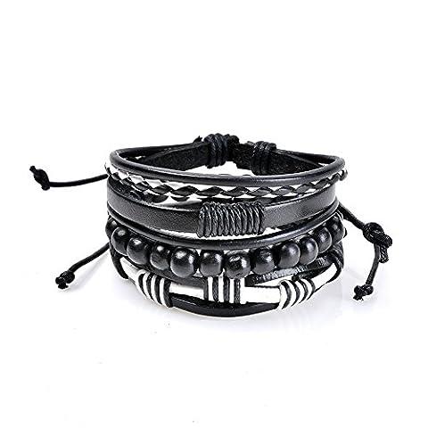 Lureme 3 Pcs Bracelets en cuir pour hommes et femmes avec bracelet en perles en bois à cordon ajustable (bl003200)