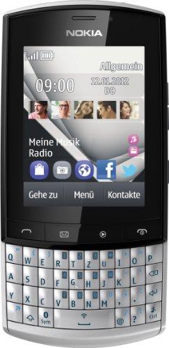 Nokia Nokia Asha 303 Smartphone (6,1 cm (2,6 Zoll) Display, Touchscreen, 3.2 Megapixel Kamera, HSDPA, QWERTZ-Tastatur) silberweiß