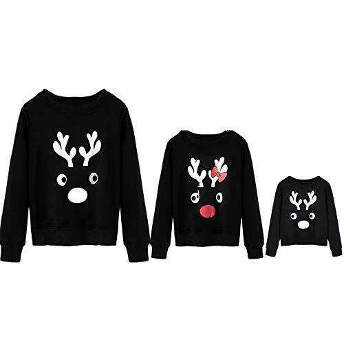 Blingko Familien Weihnachten Pyjamas Mama Ich Passendes T-Shirt Baby Niedlichen Langen ÄRmeln Brief Drucken Tops Bluse Shirt Das langärmelige Weihnachtselchhemd der Kinder übersteigt Eltern Kind Baby