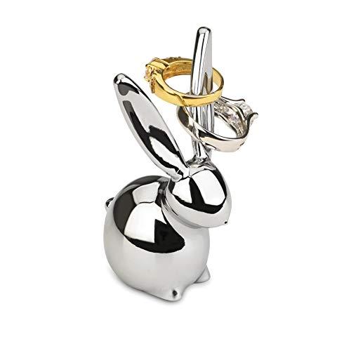 Umbra Zoola Hasen Ringhalter - Moderne Ringablage, Ideales Gastgeschenk, Metall / Silber (Ring-halter Katze)