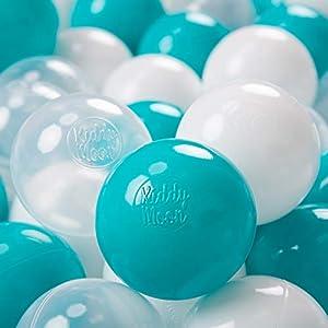 KiddyMoon 700 - Pelotas de plástico para niños, 7 cm de diámetro,, Color Turquesa/Transparente/Blanco