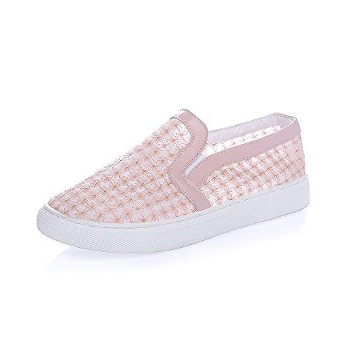 VogueZone009 Damen Rein Niedriger Absatz Ziehen Auf Rund Schließen Zehe Pumps Schuhe Pink