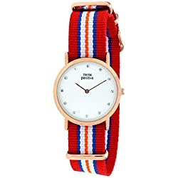 Ladies' THINK POSITIVE® Model SE W96 Watch Medium Flat Rosè Crystal Bracelet Of Cordora Red, Blue, Orange