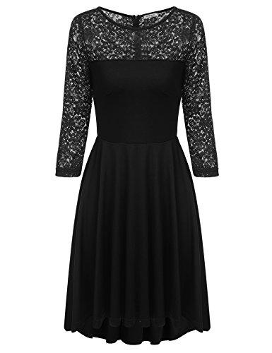 Damen Elegant Kleid Abendkleider Cocktailkleid Spitzenkleid Langarm Lace Dress Vintage Asymmetrisch...