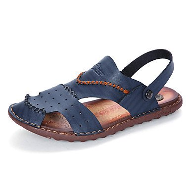 Slippers & amp da uomo;Toe Light Ring Soles similpelle Primavera Estate Casual Khaki Blu Marrone F sandali US7.5 / EU39 / UK6.5 / CN40