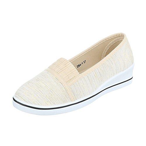 Ital-Design Slipper Damen-Schuhe Low-Top Keilabsatz/Wedge Moderne Halbschuhe Beige Gold, Gr 37, 284-Y-