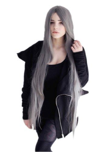 cosplayland-c775-parrucca-110cm-colore-grigio-capelli-extra-lunghi-di-prima-classe-resistente-al-cal