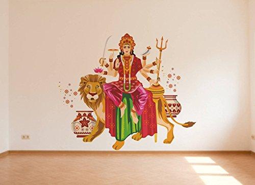 Rawpockets 'Goddess Durga with Lion' Wall Sticker (PVC Vinyl, 1 cm x 65 cm x 80 cm)