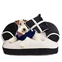 FONGFONG Pet Bed Soft and Cozy Dog Sofa Bed with Removable Washable Cover Dog Bed with Sofa Protector for Medium Animals for Gift L Black