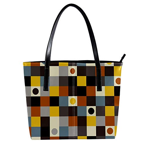 Women's Bag Shoulder Tote handbag with Squares And Dots Pattern Print Zipper Purse PU Leather Top-handle Zip Bags -