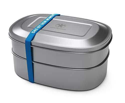 qarapara - Edelstahl Lunchbox/Brotdose mit 2 Ebenen und Fächern, 1000ml, plastikfrei, mit Silikonband (Kinder Aluminium-lunch-boxen Für)