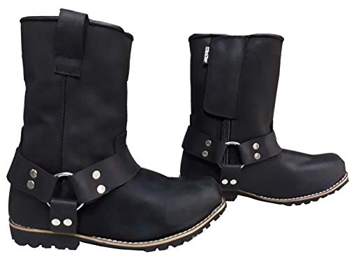 WinNet Stivali Stivaletti polacchetti scarpe da per moto custom in di pelle nera UOMO - DONNA