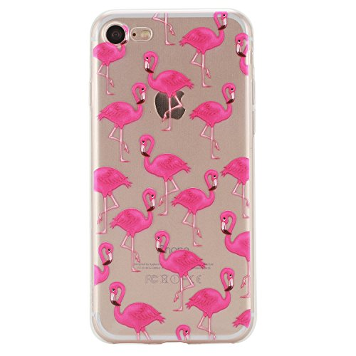 Apple iPhone 7 Hülle,iPhone 7 Silikon TPU Gel Case,Ekakashop Ultra dünn Slim Kreativ Design Durchsichtig Transparent Crystal Klar Flexible Gel Case Schutzhülle Defender Bumper Tasche Hüllen für Apple  Flamingos