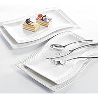 Malacasa, Serie Flora, 4 tlg. Set Cremeweiß Porzellan je 2 Stück 13,25&11 Zoll Flacher Teller Speiseteller Essteller Kuchenteller Dessertteller Eckig Rechteckig Servierplatte
