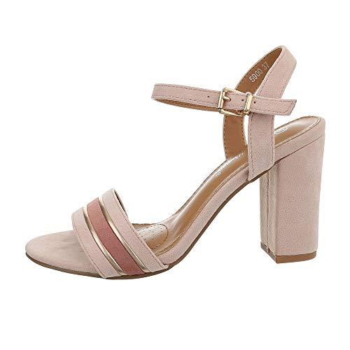 Ital-Design Damenschuhe Sandalen & Sandaletten High Heel Sandaletten Synthetik Altrosa Gr. 38 -