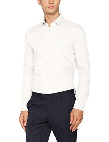 Calvin klein venice extra slim fit ftc, camicia business uomo, bianco (white), large (taglia produttore: 41)