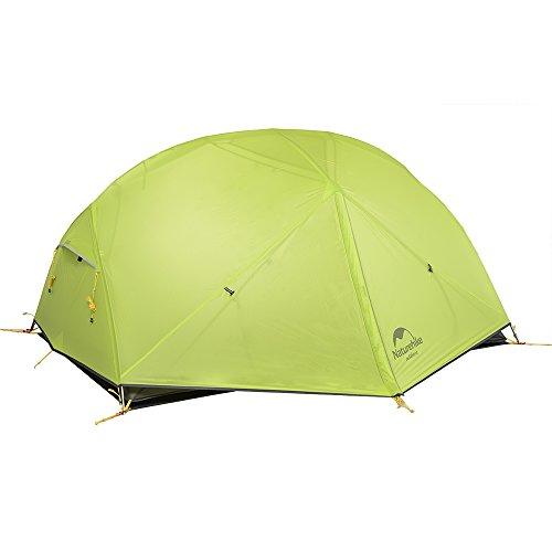 Naturehike Mongar Ultraleichte 2 Personen Zelt 20D Silikon doppelten Camping Zelt … (Hellgrün)