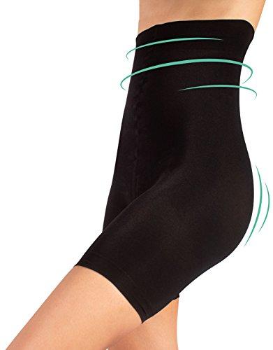 Pantaloncino snellente vita alta, guaina contenitiva e modellante, shaper & push up, nero & naturale, s m l xl (5 - xl, nero)