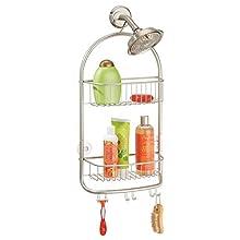 mDesign Bathroom Shower Caddy for Shampoo, Conditioner, Soap - Extra Long, Satin