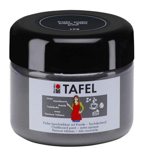 Marabu 025925179 - Tafelfarbe, für Wand, Papier, Holz, MDF, Metall, Keilrahmen, nach dem Trocknen mit Kreide bemal- und abwischbar, 225 ml, graphit