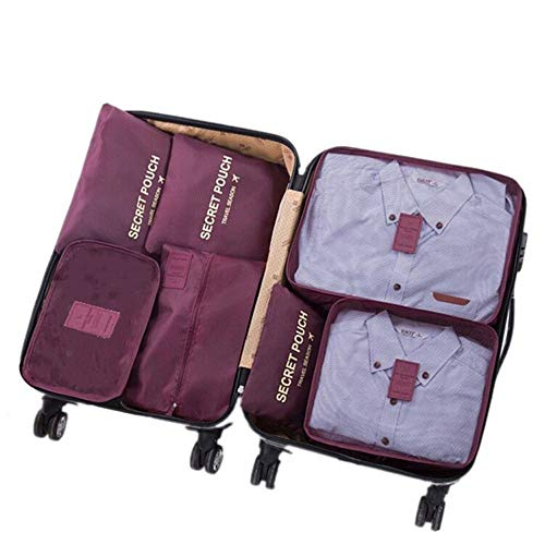 7 Set Sistema di Cubo di Viaggio 3 Cubi di Imballaggio e 3 Sacchetti Borsa+ 1 Borsa portascarpe Perfetto di Viaggio Dei Bagagli Organizzatore (Wine