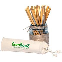 DECO EXPRESS Bambooz Pajitas bambú Reutilizables ecológicas biodegradables reciclables - 24 pajitas