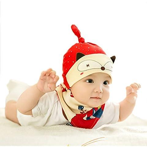 Kosbon Unisex bebé dibujos animados Fox patrón ajustable nudo de algodón Beanie Hat y triángulo babero conjunto. (Rojo)