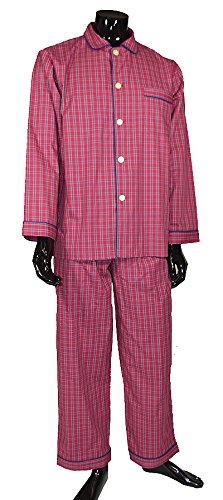 Lloyd Attree & Smith Herren 100% Baumwolle Schlafanzug Pyjama in rot und marineblau kariert