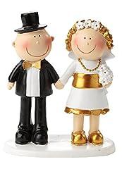Idea Regalo - Hochzeit Dekoration Statuetta per torte, 50° anniversario di matrimonio, nozze d'oro, adatta anche come centrotavola