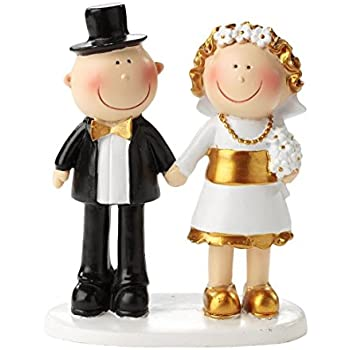 Bride and Groom Wedding Cake Topper - Gold 50th