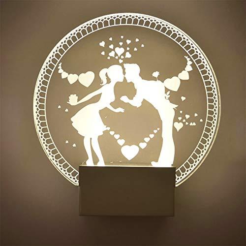 HNZZN Heißesten Liebhaber Herz moderne Acryl Nachtlicht Mode ein Typ Bett Zimmer Toilette Wandleuchte warmweiß Paar Kuss LED-Licht, als Bild, 0-5W, kühles Weiß (5500-7000K) - Kühle Küsse